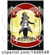 Clipart Of A Male Magician Bowing On Stage With Ribbon Banners Over A Pattern Royalty Free Vector Illustration by BNP Design Studio