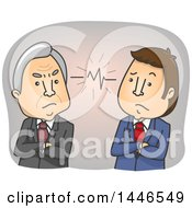 Clipart Of Cartoon Senior And Middle Aged Business Men In A Conflict Due To A Generation Gap Royalty Free Vector Illustration