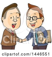 Clipart Of Cartoon White Business Men Shaking Hands One Holding Manuscripts Royalty Free Vector Illustration