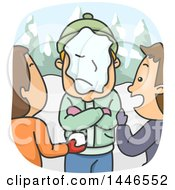 Clipart Of A Cartoon Angry Man With Folded Arms After Being Hit In The Face With A Snowball Royalty Free Vector Illustration