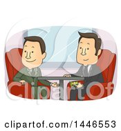 Clipart Of Cartoon White Business Men Exchanging Dirty Cash Money Under A Table Royalty Free Vector Illustration by BNP Design Studio