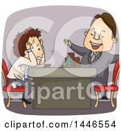 Cartoon Compulsive Gambler At A Casino