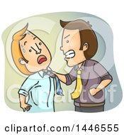 Cartoon White Business Man Physically Attacking A Colleague