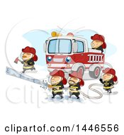 Clipart Of A Team Of Fire Men Working Around A Truck To Extinguish A Fire Royalty Free Vector Illustration