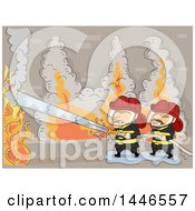 Clipart Of Fire Men Operating A Hose To Extinguish A Fire Royalty Free Vector Illustration