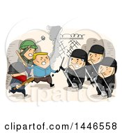 Clipart Of A Group Of Riotors Attacking The Police Royalty Free Vector Illustration