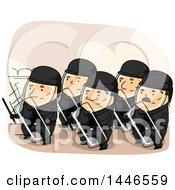 Clipart Of A Group Of Riot Police In A Defensive Stance Royalty Free Vector Illustration