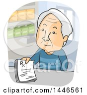Clipart Of A Cartoon White Senior Man Turning In A Prescription To A Pharmacy Royalty Free Vector Illustration by BNP Design Studio