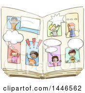 Clipart Of A Sketched Open Book With Children Talking Royalty Free Vector Illustrationz
