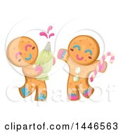 Clipart Of Happy Gingerbread Cookie Characters Playing With Icing Royalty Free Vector Illustration by BNP Design Studio