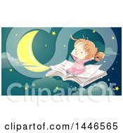 Clipart Of A Sketched Happy Red Haired White Girl Flying On An Open Book Against A Night Sky Royalty Free Vector Illustration