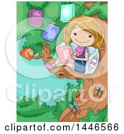 Poster, Art Print Of Cartoon Happy Blond White Girl Reading A Book In A Tree