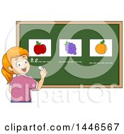 Happy Red Haired White School Girl Writing The Names Under Fruits On A Chalkboard