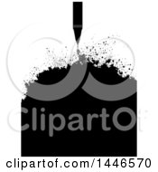 Clipart Of A Grayscale Technical Pen With Ink Splatters Royalty Free Vector Illustration