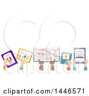 Poster, Art Print Of Group Of Child Hands Holding Up School Books