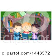 Group Of Three Children Reading A Magical Book In A Forest