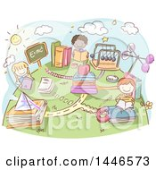 Clipart Of A Sketched Group Of School Kids Reading Physic Books Royalty Free Vector Illustration by BNP Design Studio