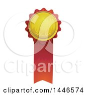 Clipart Of A Gold And Red Award Ribbon Royalty Free Vector Illustration
