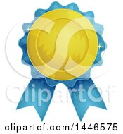 Clipart Of A Gold And Blue Award Ribbon Royalty Free Vector Illustration