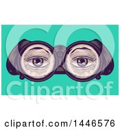 Clipart Of A Cross Hatching Sketched Styled Pair Of Eyes Through Binoculars Over Turquoise Royalty Free Vector Illustration