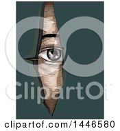 Clipart Of A Cross Hatching Sketched Styled Eye Looking Through Torn Paper Over Teal Royalty Free Vector Illustration by BNP Design Studio