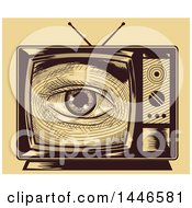 Clipart Of A Cross Hatching Sketched Styled Eye Looking Through A Tv Set Over Yellow Royalty Free Vector Illustration by BNP Design Studio