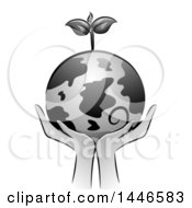 Clipart Of A Grayscale Pair Of Hands Holding Up A Globe With A Seedling Plant Royalty Free Vector Illustration