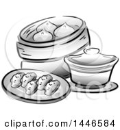 Clipart Of Grayscale Chinese Dipsum Royalty Free Vector Illustration