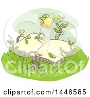 Clipart Of A Sketched Yellow Flower And Vines Holding An Open Book Royalty Free Vector Illustration