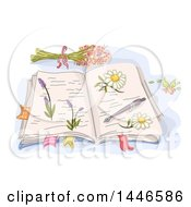 Clipart Of A Sketched Open Book With Pressed Flowers Royalty Free Vector Illustration