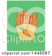 Sketched Carton Of Carrot Sticks On Green