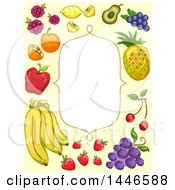 Clipart Of A Frame With A Border Of Sketched Fruit Royalty Free Vector Illustration
