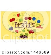 Clipart Of Doodles And Berries With Text On Yellow Royalty Free Vector Illustration