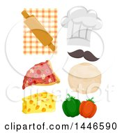 Clipart Of A Chef Hat And Pizza Ingredients Royalty Free Vector Illustration by BNP Design Studio