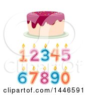 Clipart Of A Birthday Cake Over Number Candles Royalty Free Vector Illustration