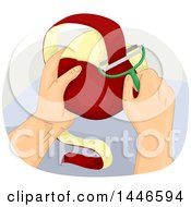 Clipart Of A Hand Peeling A Red Apple Royalty Free Vector Illustration