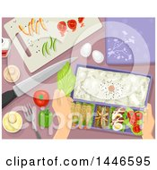 Clipart Of A Pair Of Hands Preparing A Bento Meal Royalty Free Vector Illustration