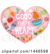 Good For The Heart Text With Heathly Foods On Pink