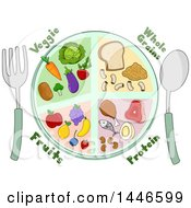 Clipart Of A Plate Of Whole Grains Protein Fruits And Veggies Royalty Free Vector Illustration by BNP Design Studio