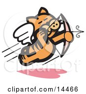 Orange Cat Flying Like Cupid And Shooting Arrows With A Bow On Valentines Day Clipart Illustration