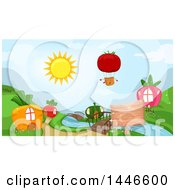 Tomato Hot Air Balloon Over Carrot Radish Squash And Strawberry Houses