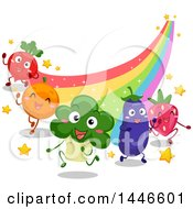 Grou Of Energetic Happy Vegetables And Fruits Running At The End Of A Rainbow