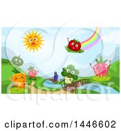 Rainbow And Sun Over A Landscape Of Happy Fruits And Vegetables By A Stream