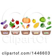 Row Of Color Labeled Baskets Under Vegetables And Fruits