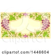 Clipart Of A Frame Bordered With Graphes And Vines Royalty Free Vector Illustration