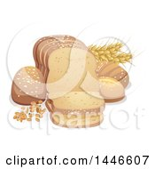 Clipart Of Wheat And Grains With Bread Royalty Free Vector Illustration by BNP Design Studio