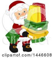 Clipart Of A Christmas Santa Claus Carrying Shopping Bags And Boxes Royalty Free Vector Illustration