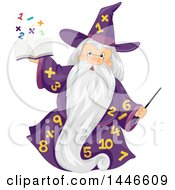 Clipart Of A Senior Wizard In A Number Gown Holding Up A Magic Math Book Royalty Free Vector Illustration