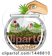 Clipart Of A Hand Adding Grass To A Terrarium With Mushrooms And A Little Flower Royalty Free Vector Illustration