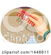 Clipart Of A Hand Using A Comb With Stored Static To Attract Pieces Of Paper Royalty Free Vector Illustration by BNP Design Studio